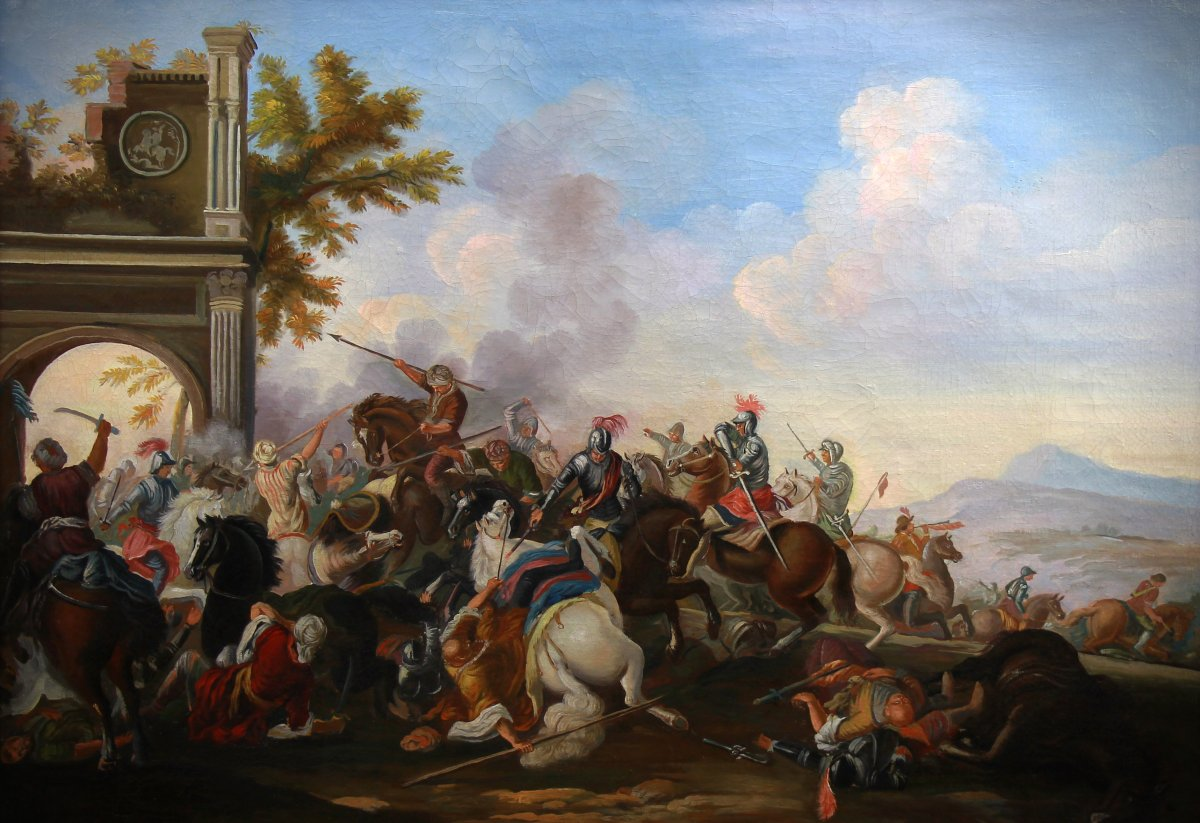 Ancienne Peinture Huile Sur Toile 20è Siécle , Scene De Bataille-photo-3