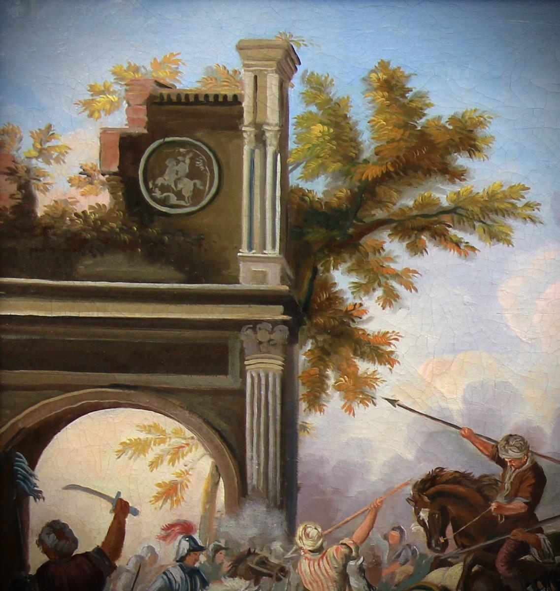 Ancienne Peinture Huile Sur Toile 20è Siécle , Scene De Bataille-photo-4