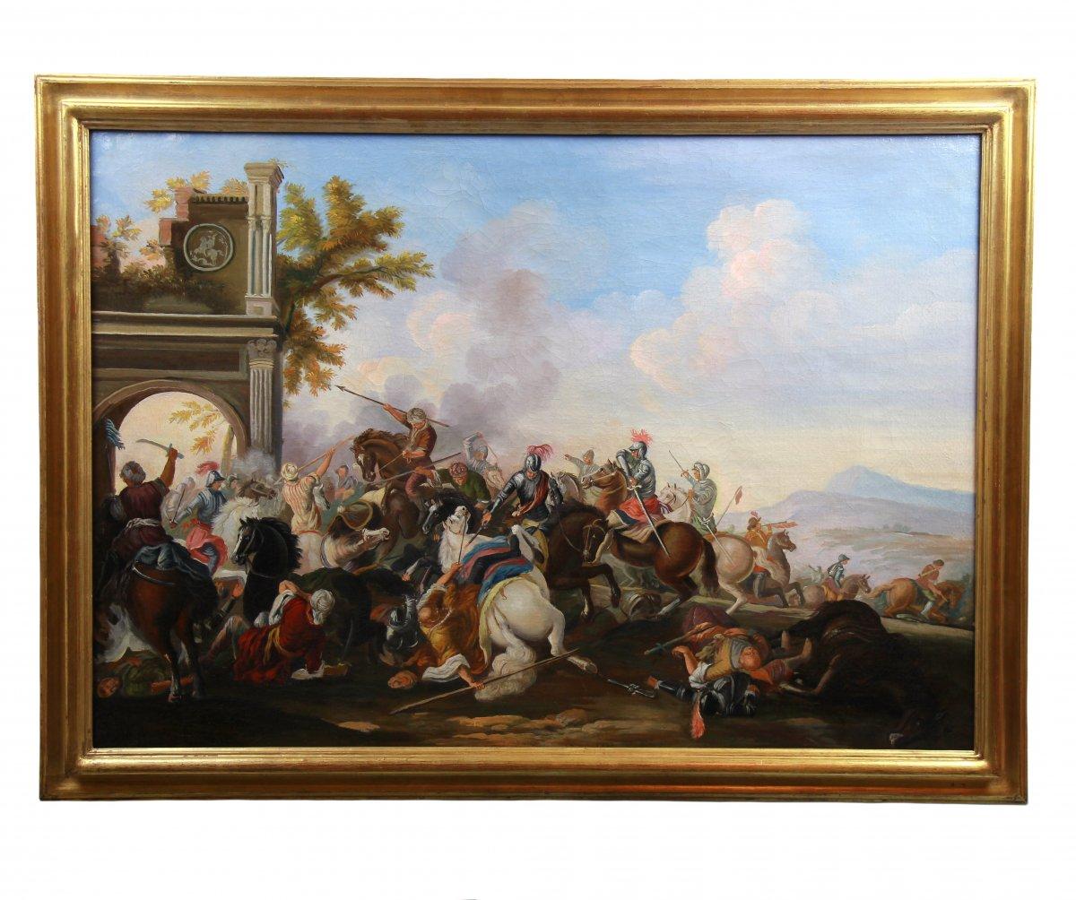 Ancienne Peinture Huile Sur Toile 20è Siécle , Scene De Bataille-photo-2