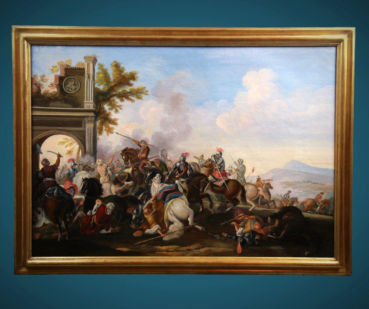 Ancienne Peinture Huile Sur Toile 20è Siécle , Scene De Bataille