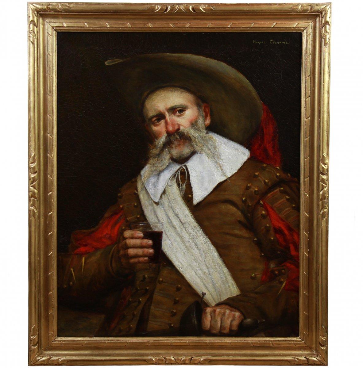 Tableau Huile Sur Toile , Portrait d'Un Mousquetaire 20ème