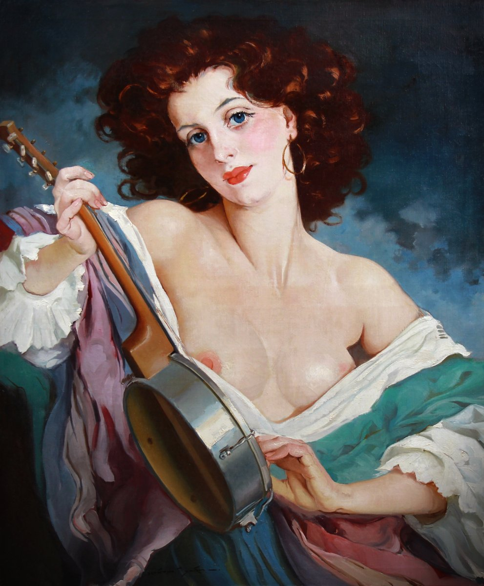 Oil On Canvas, Nude Portrait By Maria Szantho-photo-3