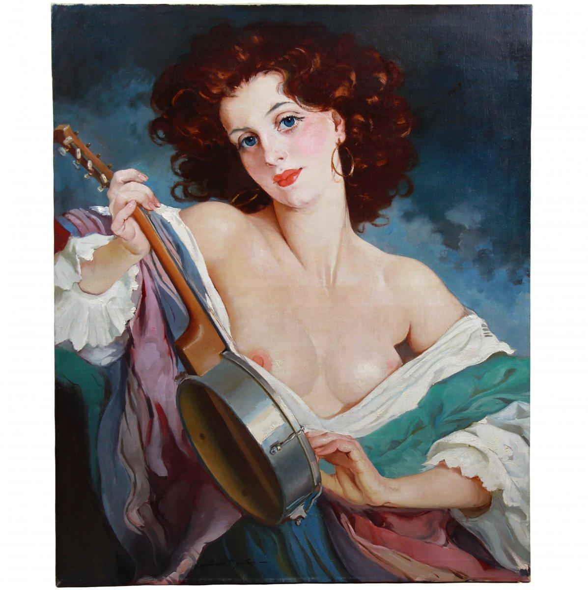 Oil On Canvas, Nude Portrait By Maria Szantho-photo-1