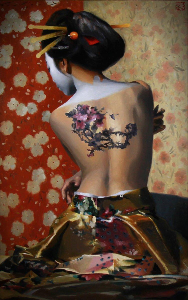 Beautiful Oil On Canvas, Nude Portrait Of A Geisha-photo-2