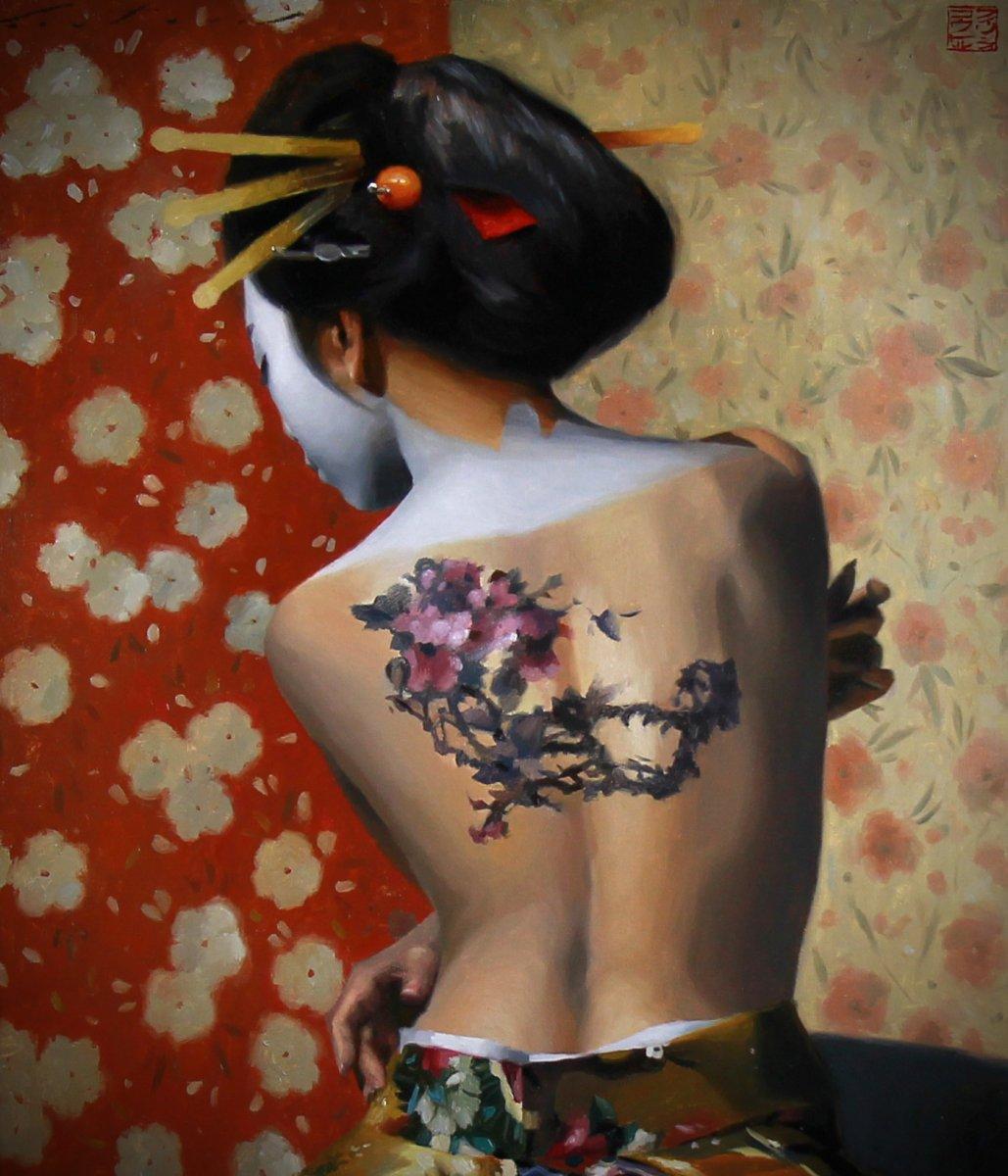 Beautiful Oil On Canvas, Nude Portrait Of A Geisha-photo-3
