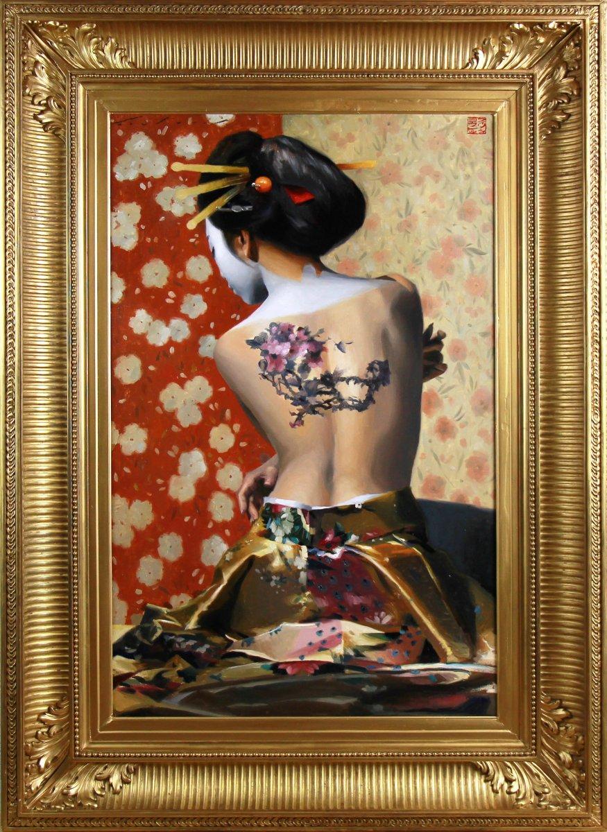 Beautiful Oil On Canvas, Nude Portrait Of A Geisha