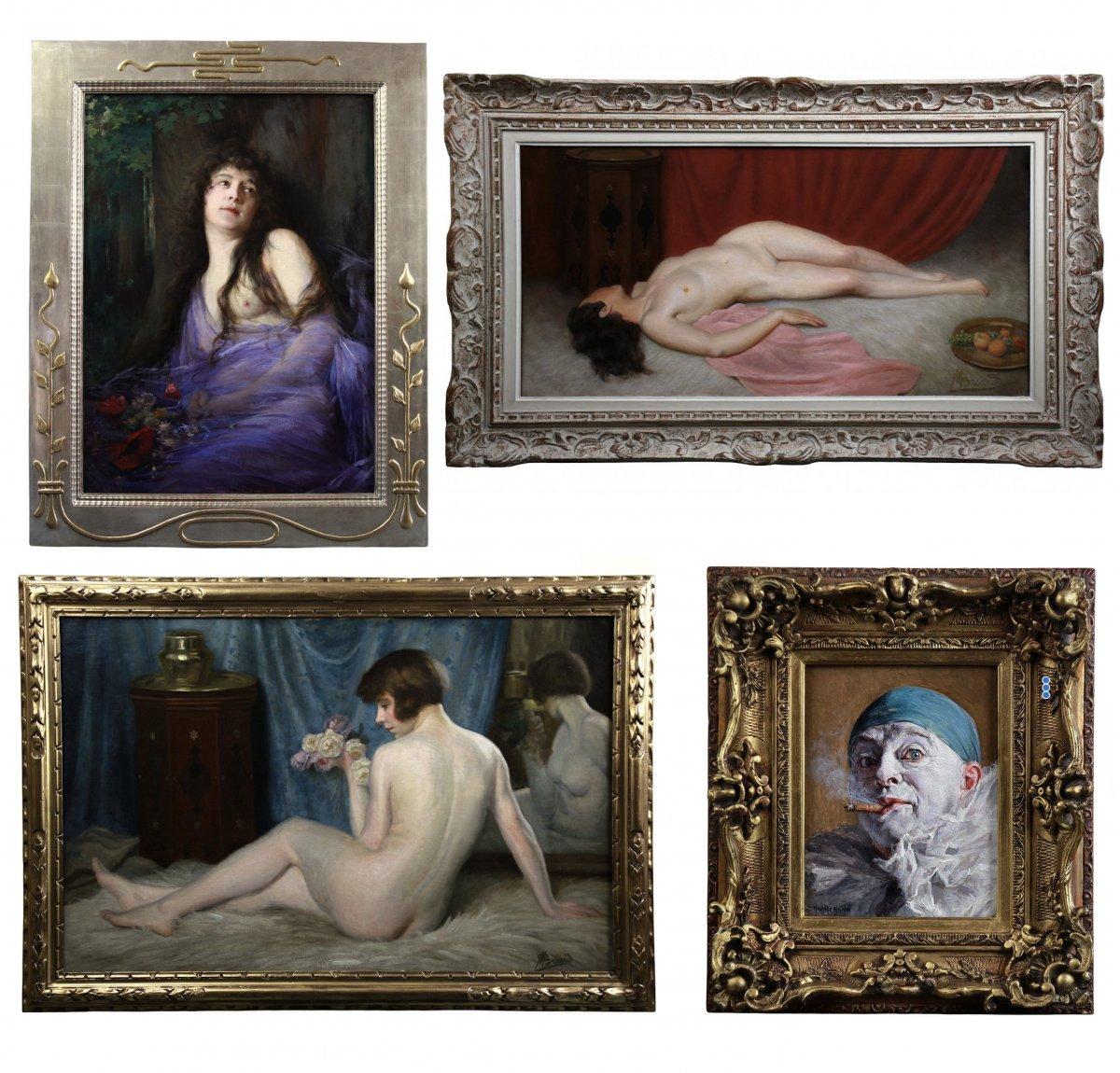 """Belle Huile Sur Toile , Portrait """" les amoureux """" nu orientaliste -photo-1"""