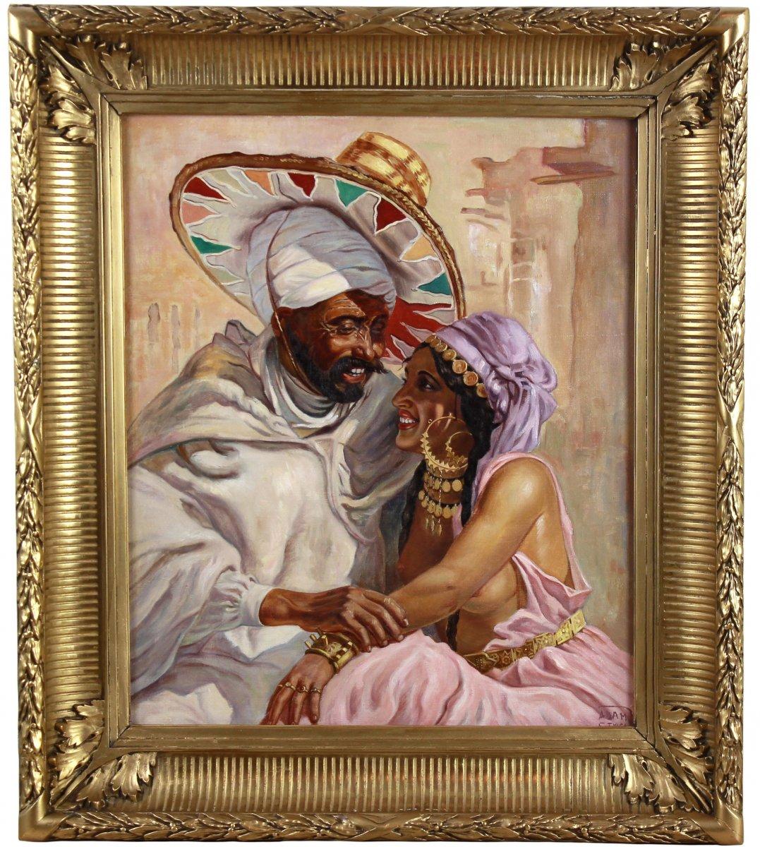 """Belle Huile Sur Toile , Portrait """" les amoureux """" nu orientaliste"""