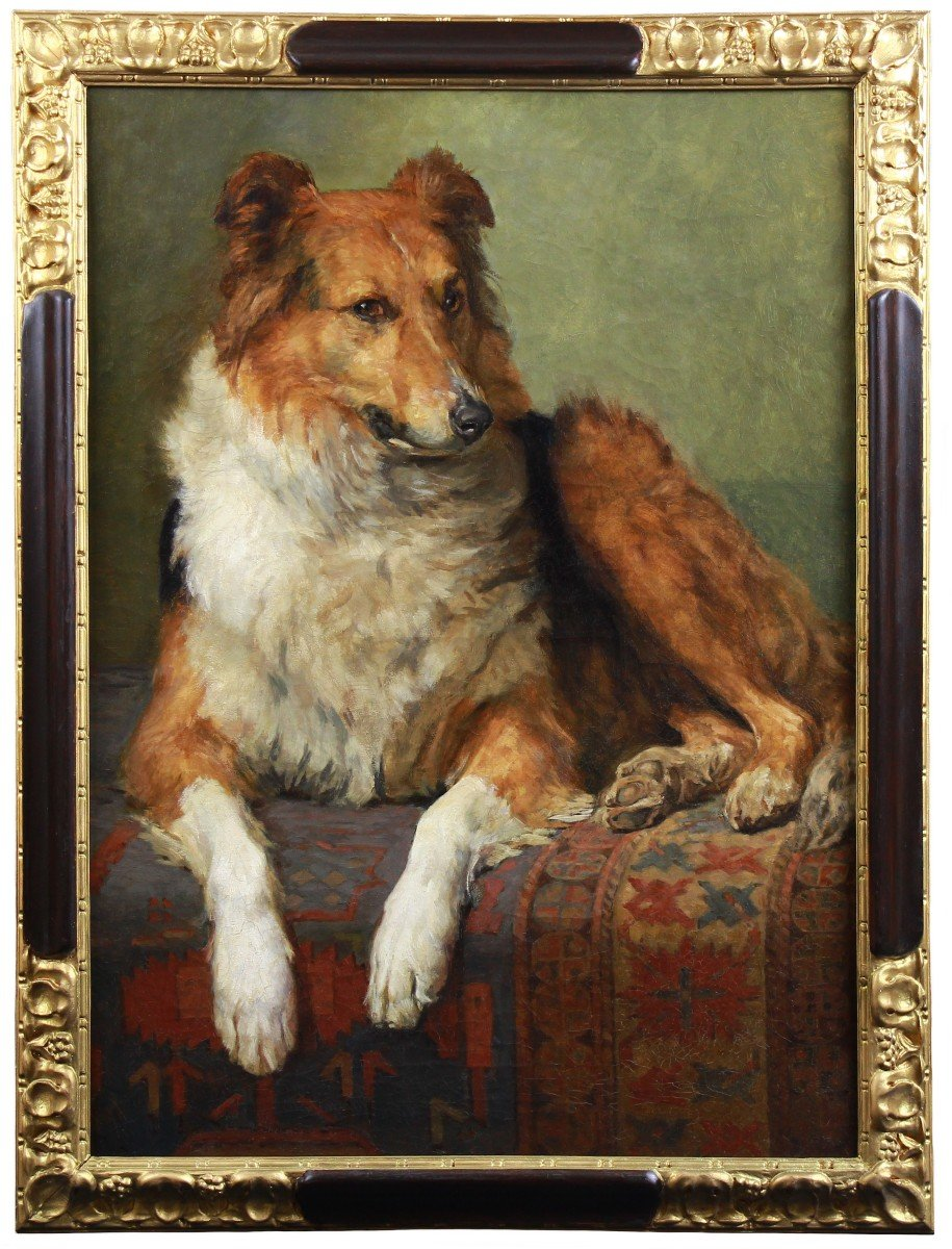 Portrait Of Dog By Charles Van Den Eycken Belgian School 19th