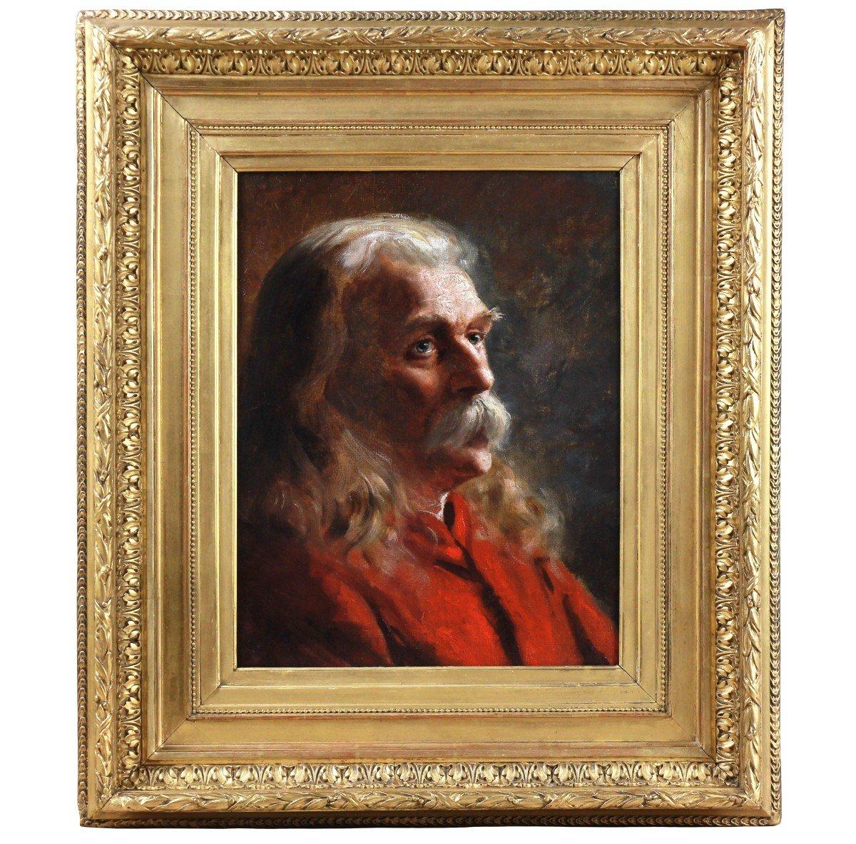 Portrait Huile Sur Carton école Americaine Fin 19emè