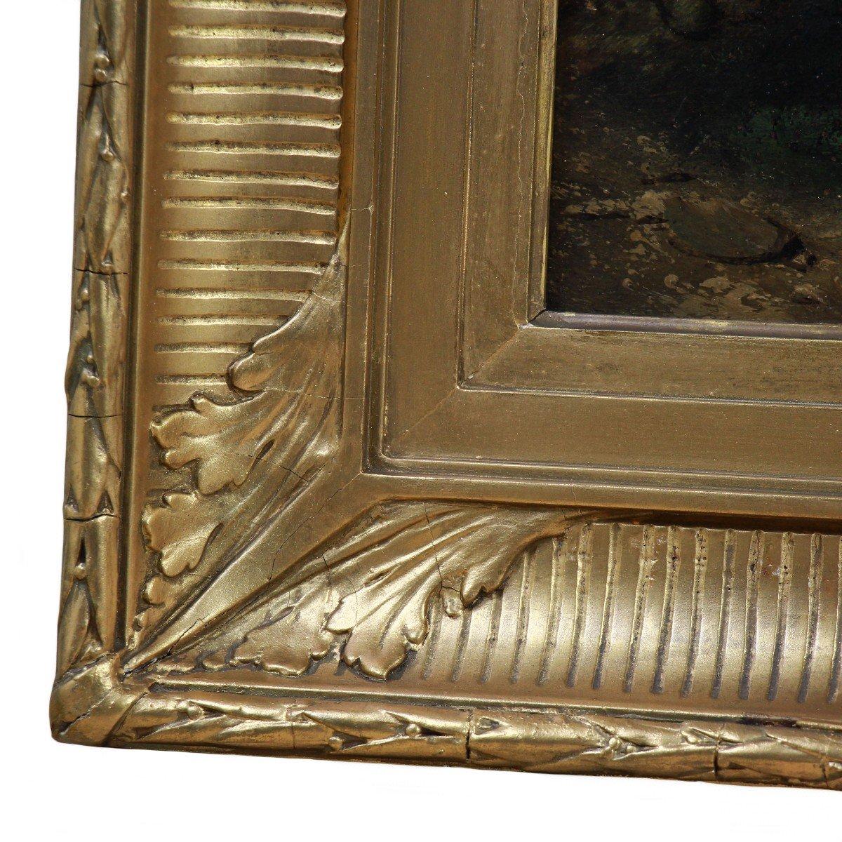 Old Oil On Panel Belgian School Of The 19th Century-photo-2