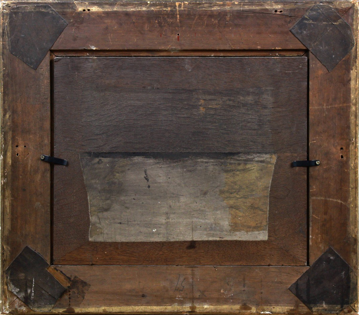 Old Oil On Panel Belgian School Of The 19th Century-photo-4