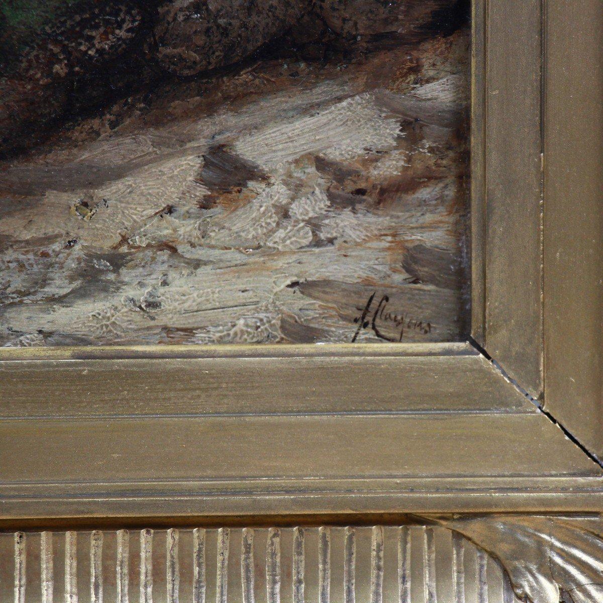 Old Oil On Panel Belgian School Of The 19th Century-photo-1