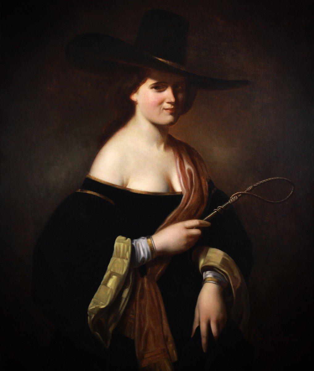 Oil On Canvas, Portrait Of A Woman With A  Hat 19th -photo-2