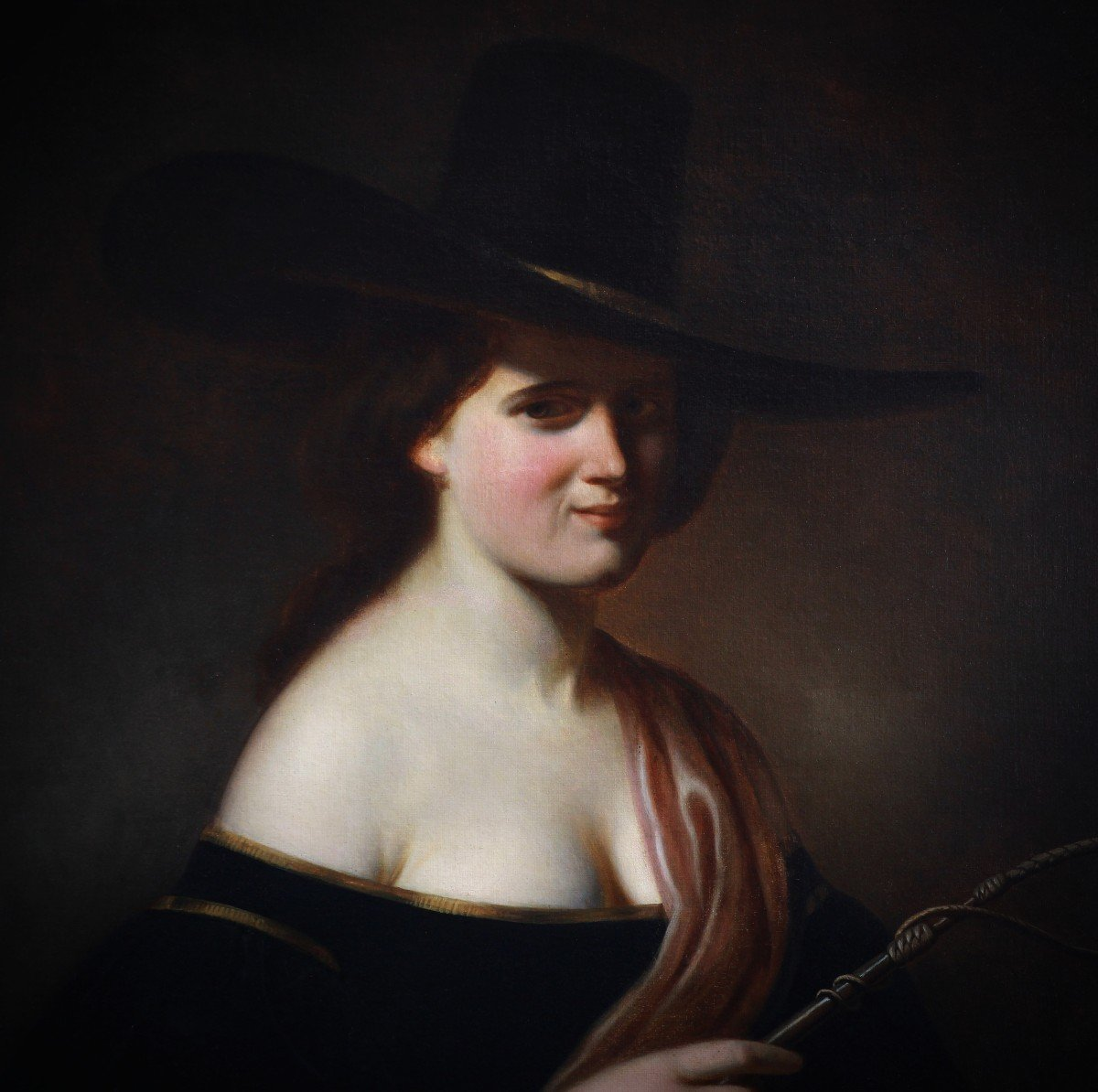 Oil On Canvas, Portrait Of A Woman With A  Hat 19th -photo-3