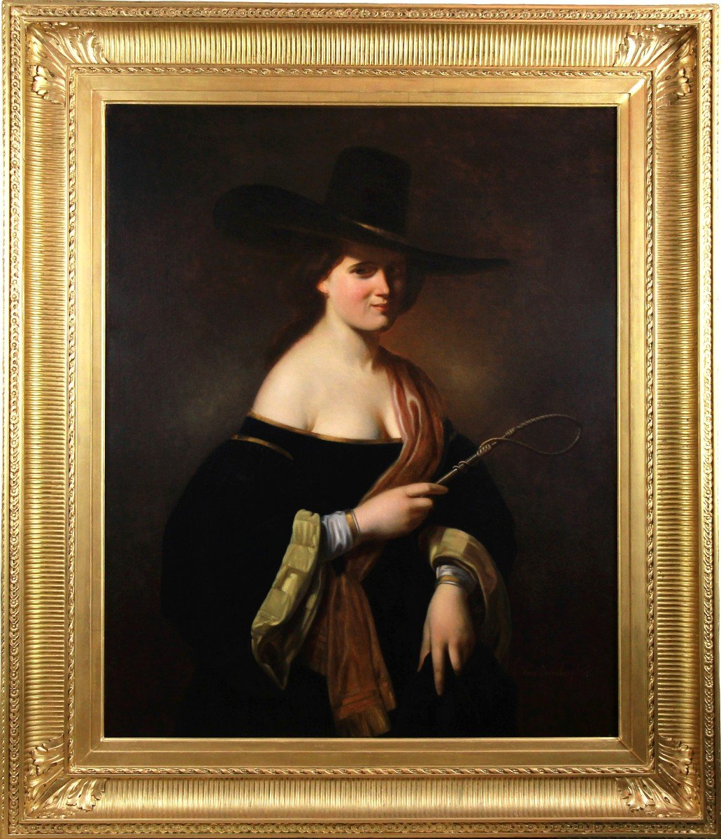 Oil On Canvas, Portrait Of A Woman With A  Hat 19th