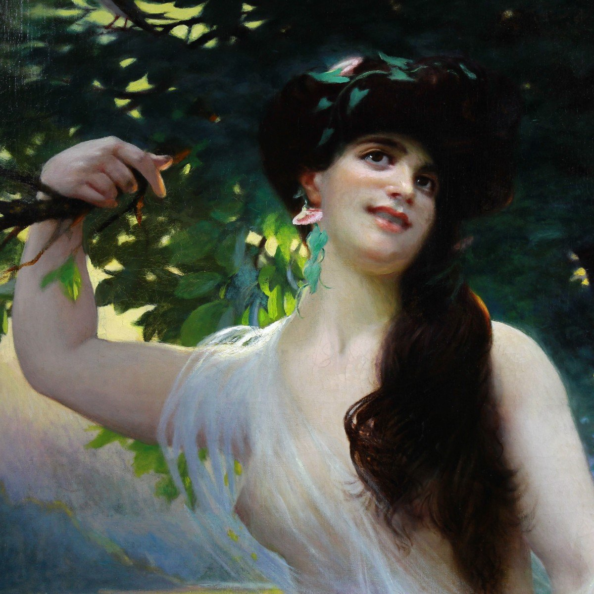 Large Oil On Canvas Nude By Jean-charles Gounod 19th-photo-2