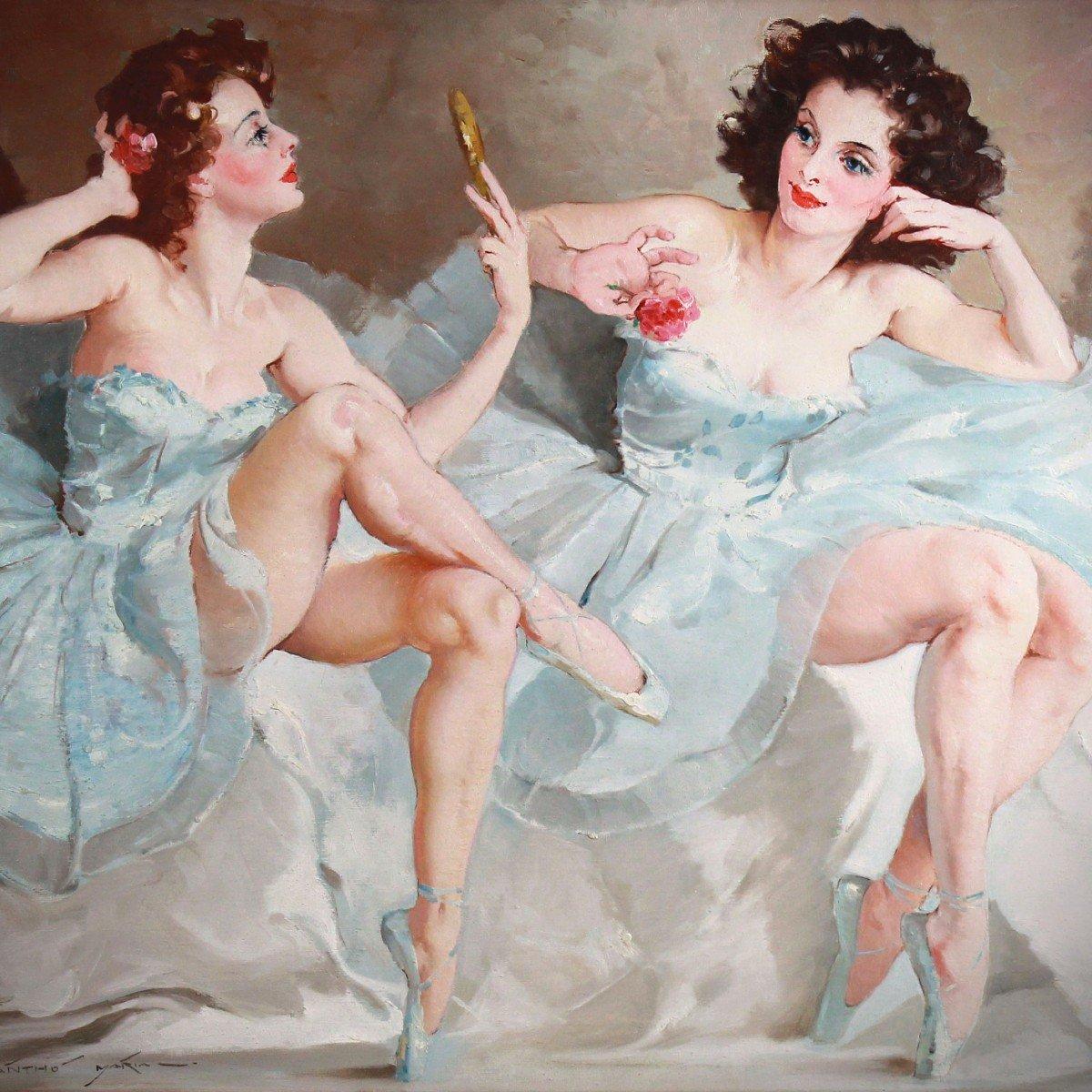 Deux Ballerines Huile Sur Toile De Maria Szantho Cadre-photo-2