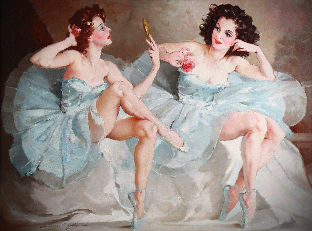 Deux Ballerines Huile Sur Toile De Maria Szantho Cadre-photo-3