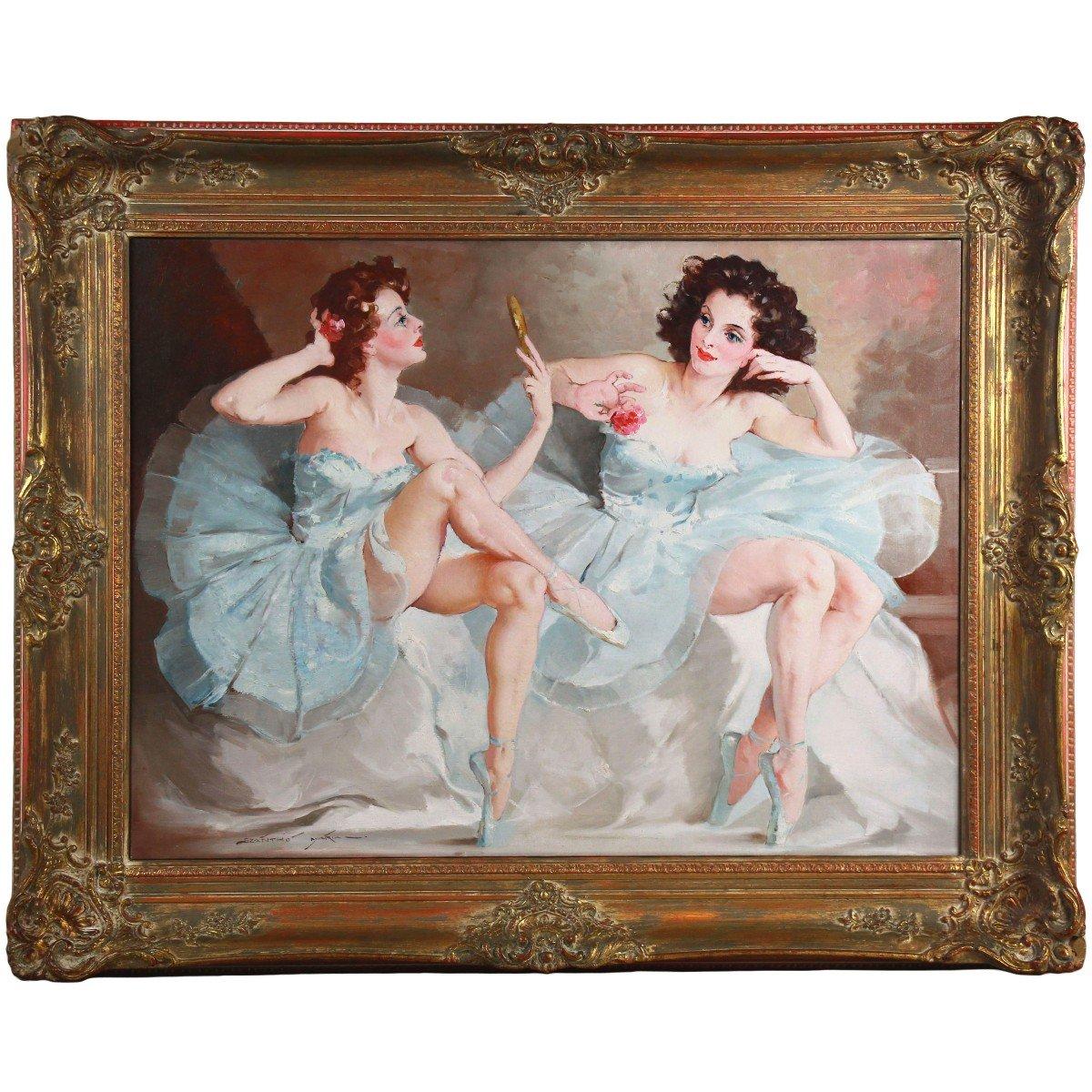 Deux Ballerines Huile Sur Toile De Maria Szantho Cadre
