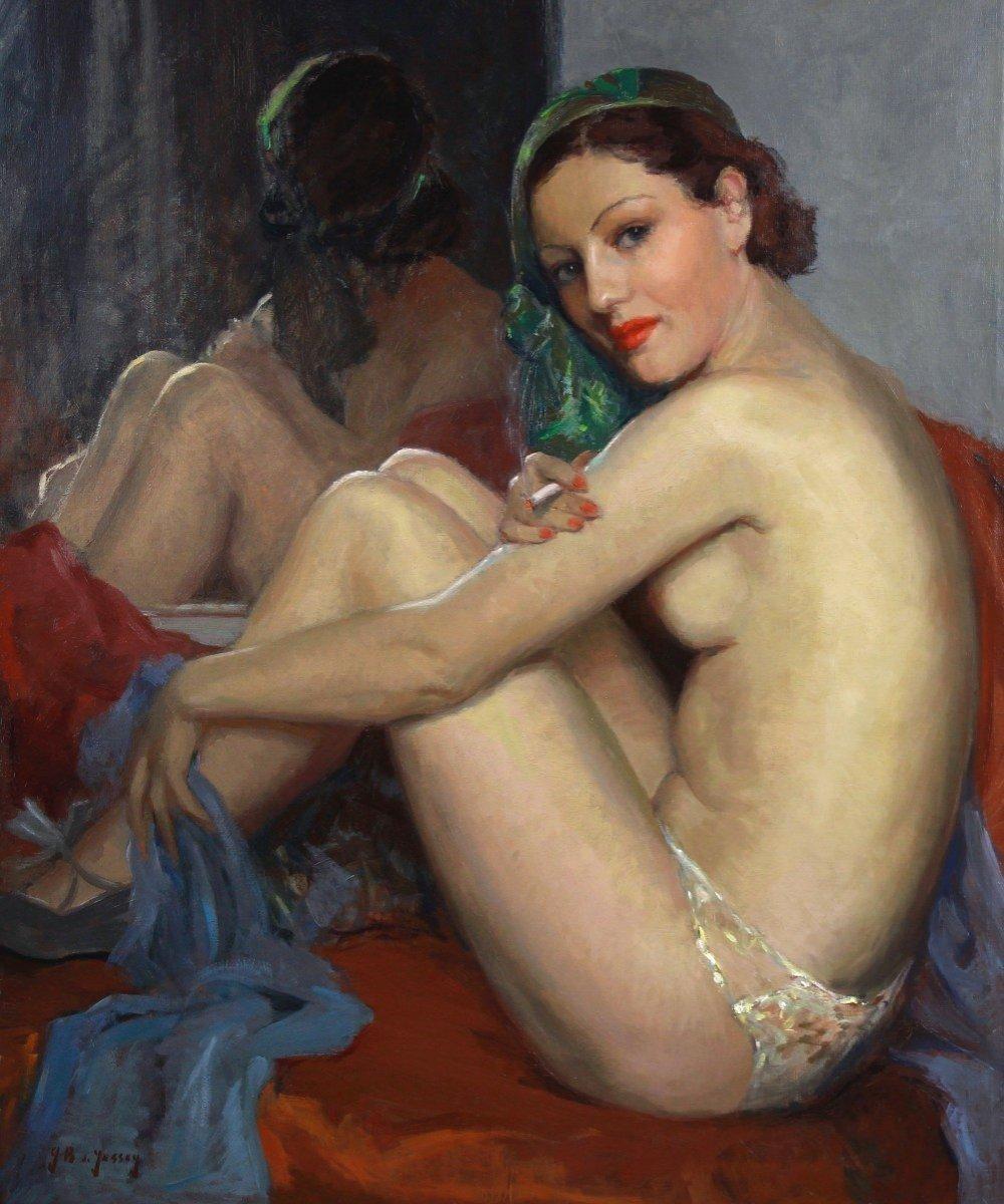 Huile sur toile jeune femme nu faisant sa toilette cadre 1955-photo-3