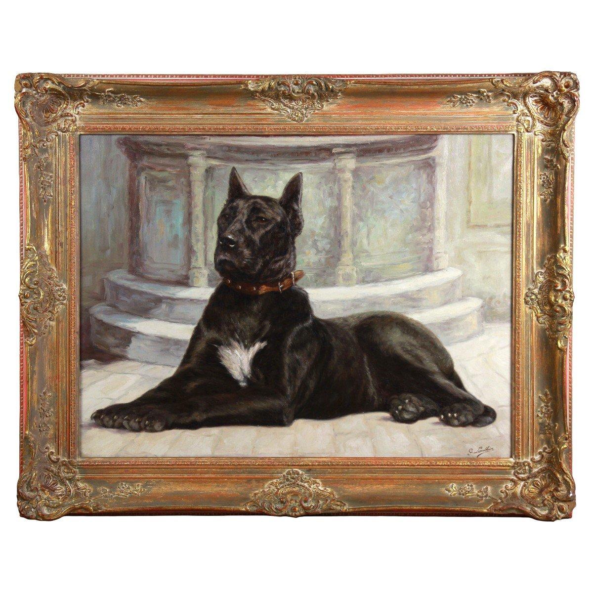 Portrait huile sur toile de chien
