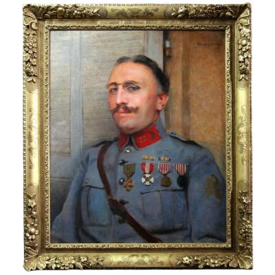 Oil Painting On Canvas Dated 1921, Portrait Of Military By Paul Leroy