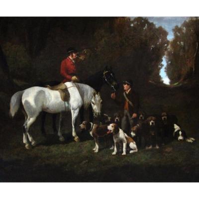 Belle Huile Sur Toile ,scene De Chasse Atr. A Alfred De Dreux 19éme