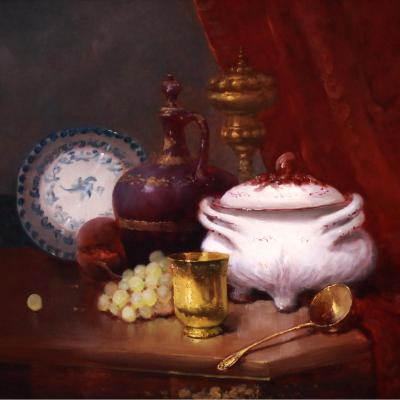 Beautiful Still Life Table In The White Earthenware Soup Tureen