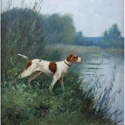 Painting Oil On Canvas Hunting Dog Charles Reyne Nineteenth Century