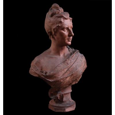 Terracotta Bust Signed Jozef Willems, XIXth Century