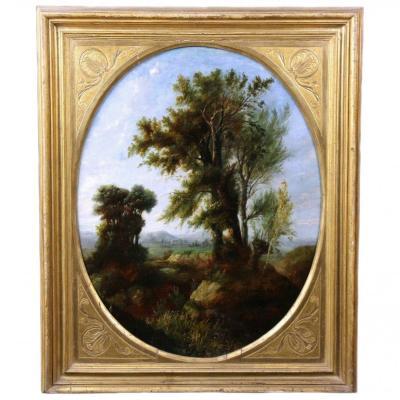Magnifique Tableau Ancien Huile Sur Toile , Scene De Forest école Française 18emè
