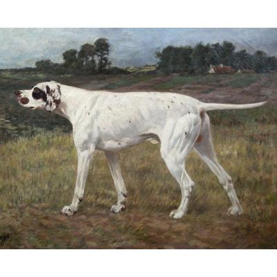 Oil Painting On Canvas, Hunting Dog Alexander Clarys Belgian School