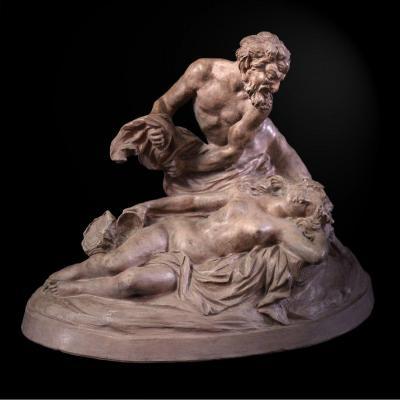 """Ancienne Terre Cuite , Jupiter Et Antiope Signé """" S K """" 1811"""