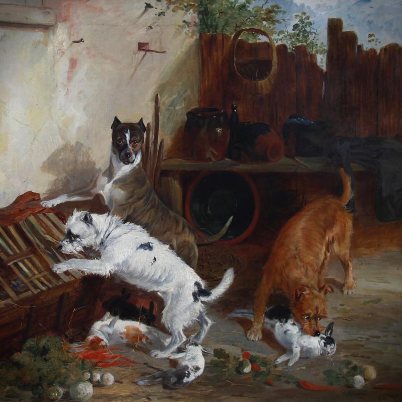 Tableaux Huile Sur Toile , Scene Avec Chiens Terrier Et Lapins Par Richard Ansdell-photo-2