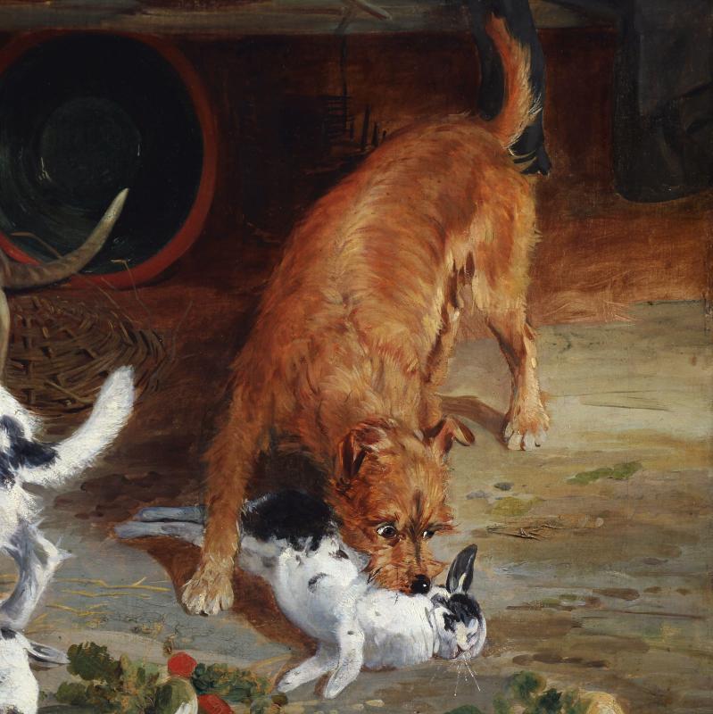 Tableaux Huile Sur Toile , Scene Avec Chiens Terrier Et Lapins Par Richard Ansdell-photo-4