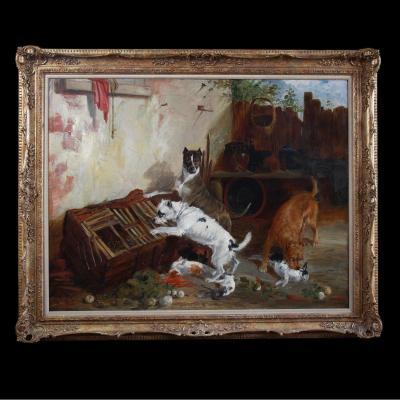 Tableaux Huile Sur Toile , Scene Avec Chiens Terrier Et Lapins Par Richard Ansdell