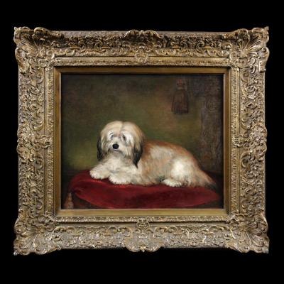 Peinture Huile Sur Toile, Portrait De Chien école Britannique 19ème