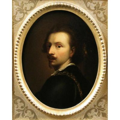 Old Oil Painting, Portrait Miniature Van Dyck 19th