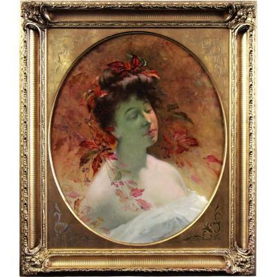 Huile sur toile , portrait Art Nouveau
