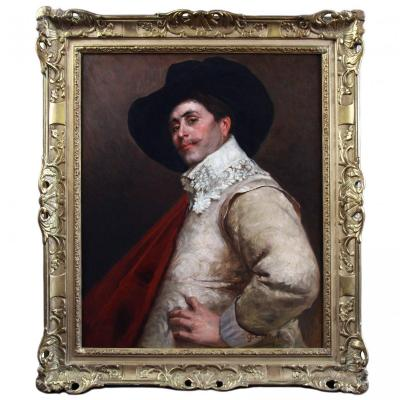 Beautiful Oil On Canvas, Portrait Of A  Musketeer 19th Century