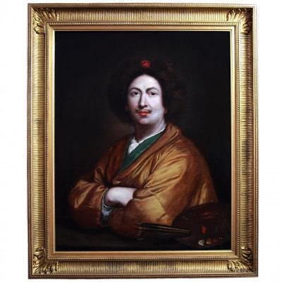 Ancienne Peinture Huile Sur Toile 18è Siécle , Portrait d'Un Artiste