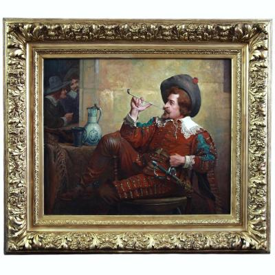 Beautiful Oil On Canvas, Portrait Of A Musketeer French School