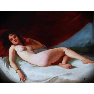 Beautiful Oil On Canvas, Reclining Nude Portrait By Maria Szantho