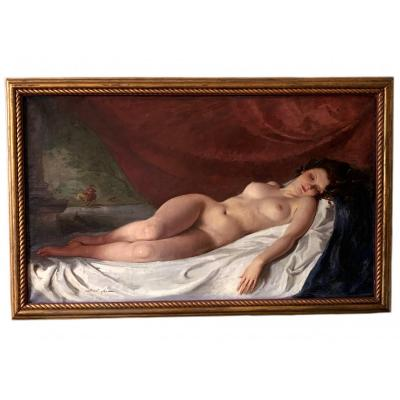 Oil On Canvas,  Portrait A Reclining Nude By Maria Szantho Hungarian School