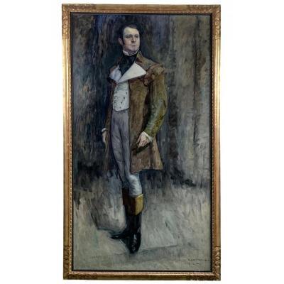 Portrait Huile Sur Toile Par Alfred Moitroux ( 1886-1938 ) école Belge