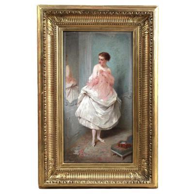 Ancienne Huile Sur Toile , Nu Portrait Dame Devant Un Miroir A l'Essayage XIX
