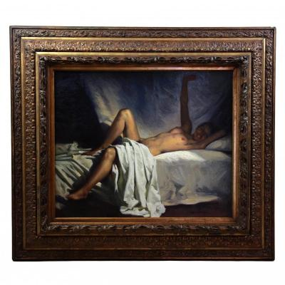 Oil On Canvas, Naked Portrait By Julio Guttierrez