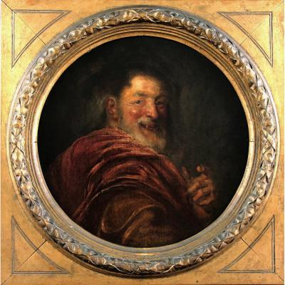 Magnificent Oil On Canvas Painting, Democritus By Atoine Coypel 18th