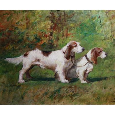Oil Painting On Canvas, Terrier Hunting Dogs